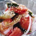 スーパーフルーツトマトとワカメのポン酢サラダ